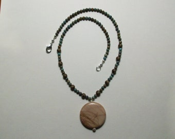 Imperial jasper pendant with semi-precious beads in soft browns and turquoise colors. Handmade.