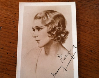 Actress Mary Pickford vintage signed portrait card