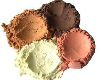 4pc BEACH Mineral Eyeshadow Mineral Makeup Set - Pure Natural Vegan Minerals