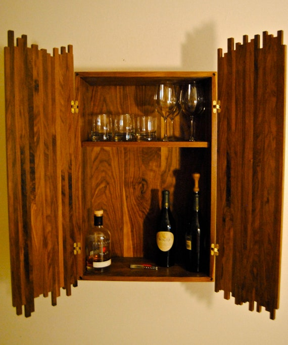 hanging liquor cabinet items similar to hanging liquor cabinet solid walnut with 16199