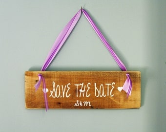 Save the Date wooden sign photo prop for engagement photo  WS-5