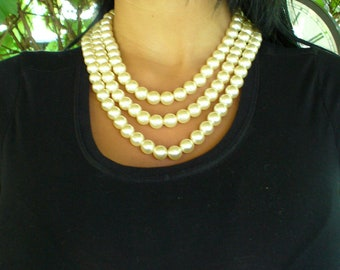 Wedding Jewelry, Vintage Bridal Multi Strand Necklace-Off White Pearls