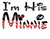 I'm His Minnie PIY DIY Iron On I Do Mickey Mouse Disney Mr Pillowcase Shirt Bride Tote Honeymoon Wedding