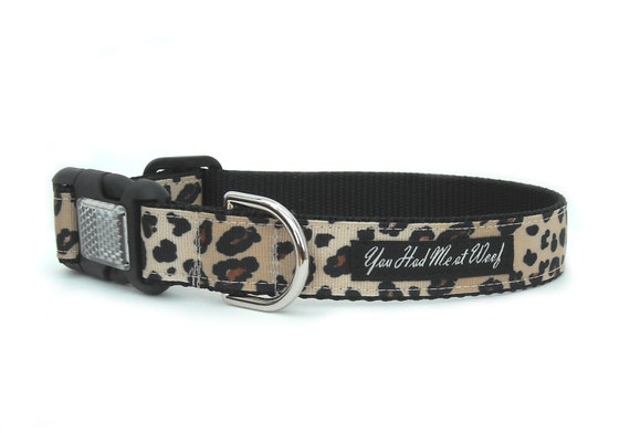 Leopard Dog Collar, Reflective, Rescue Dog Collar, Luxury Dog Collar, 1 inch - Swanky