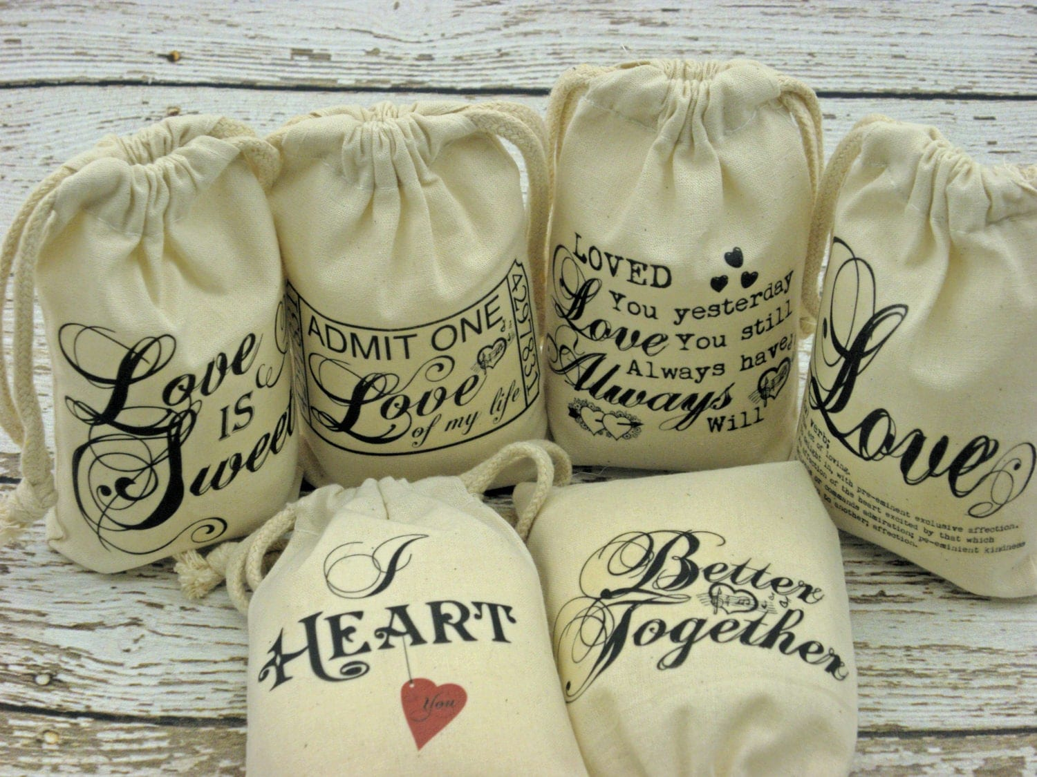 Wedding Gift Bag Sayings : Items similar to Wedding or Bridal Showers favor bags, Love Quotes ...
