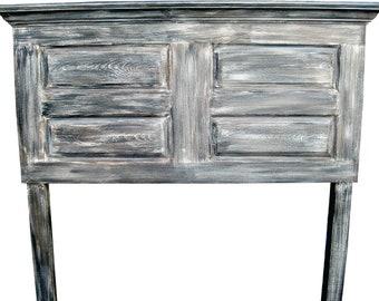 Queen size distressed 4 panel door headboard