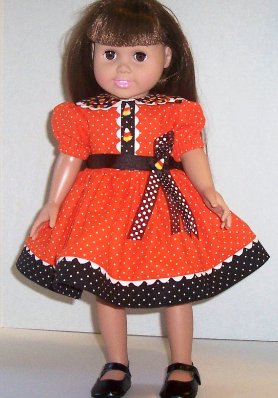 American Girl Doll Clothes Halloween Dress Orange Candy Corn