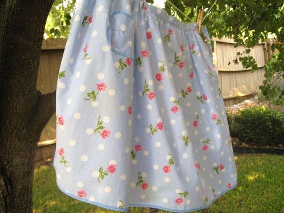 Half Apron, Retro Apron, Blue Apron, Vintage Apron with White Polka Dots and Pink Roses