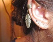 Bronze Feather Ear Cuff