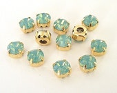 7mm Pacific Opal Swarovski Chaton Montee Sliders with Gold Settings, Set of 12, 2 Holes on Each Side, SS34, Swarovski Chatons