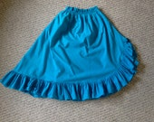 Vintage. Bright Blue Full Skirt with Ruffle Hem. Women's Extra Small/Small
