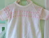 Vintage Baby Dress Pink and White Knit Sweater Dress Excellent Condition 3-6 Months