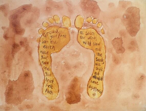 wisdom musings print 'ground your feet...' of original acrylic illustration