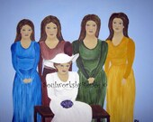 Wedding day portrait, mother, daughters, stepdaughter, friends, family - Lovely Day for New Beginnings - 20 x 24 Original Painting