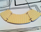 Reversible plywood vintage bib necklace in Vintage floral and Aztec yellow