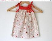 Strawberry field girls dress, polkadot sun dress