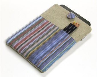 Kindle Paperwhite cover, Kindle Fire case, Kindle sleeve, 7 in tablet sleeve, blue stripes front pocket, Kindle Keyboard case, Nexus 7 case