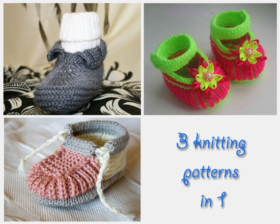 3 in 1. Booties knitting patterns collection 3 in 1 (HK... 3, 10, 13)