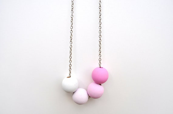 Pink Wooden Ombre Statement Necklace