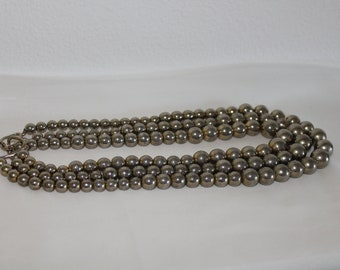 "Beautiful 1960""s Silver 3 strand necklace."