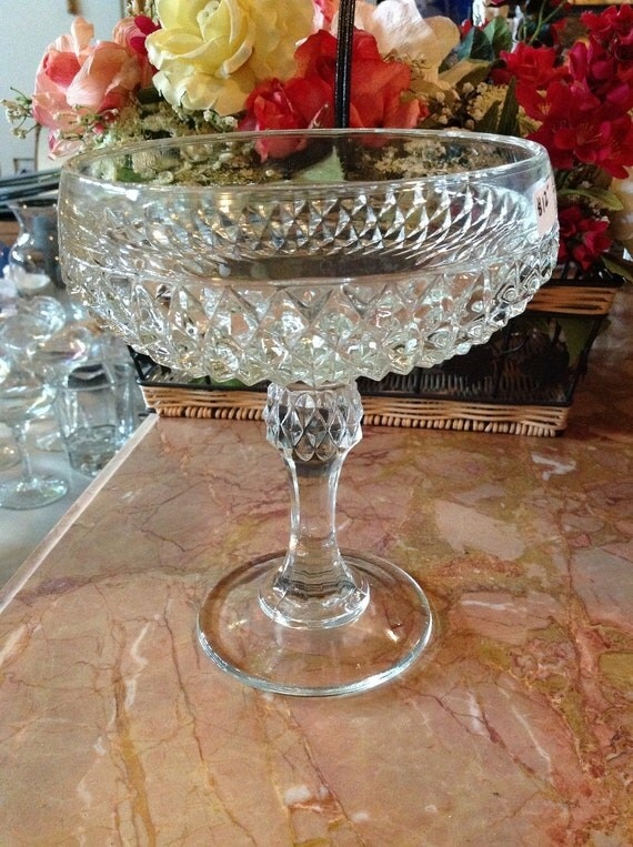 Clear crystal pedestal candy dish with diamond cut pattern
