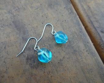 Aqua Dainty Silver Earrings -  Small Aqua Blue Dangle Earrings