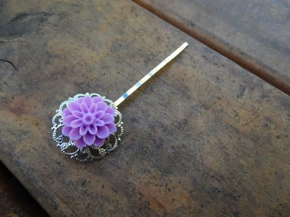 Silver with Purple Cabochon