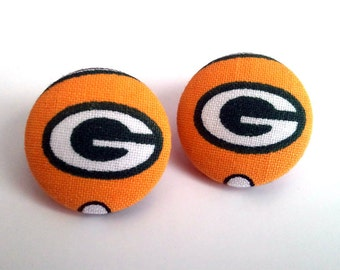 Greenbay Packers green and yellow symbol handmade button earrings