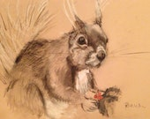 JANUARY SALE-  Folksy Squirrel holding Holly .