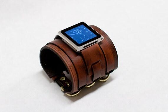 3 Band iPod Nano Leather Watch Band Cuff - Fudge Brown