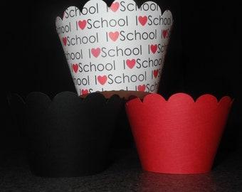 I Love School Cupcake Wrappers- Set of 12 Back to School. Teacher