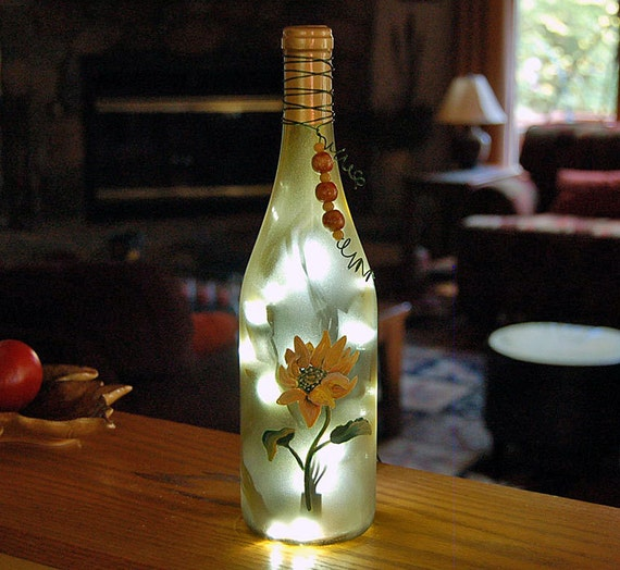 wine bottle lamp, sunflower, yellow, night light, home decor