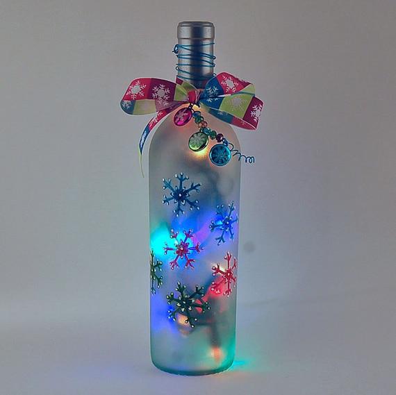 Wine bottle light multicolored snowflakes christmas decor for Wine bottle night light diy