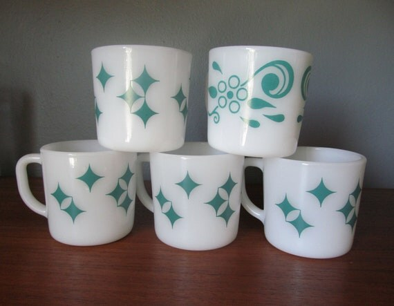 RESERVED Federal Glass Turqouise Diamond Mugs