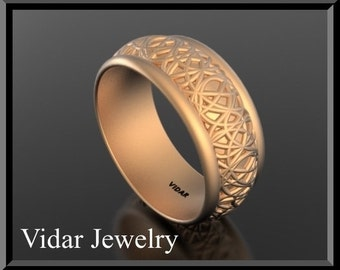 Wedding Band,Wedding Ring,Womens Rose Gold Wedding Band, 14k rose gold special design,Unique Wedding Band,Custom,Wide,Luxury