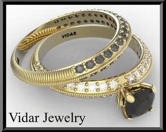 Black Diamond Wedding Ring Set.Black Diamond Engagement Ring Set,black engagement ring,black Diamond,pave, Halo, White Gold
