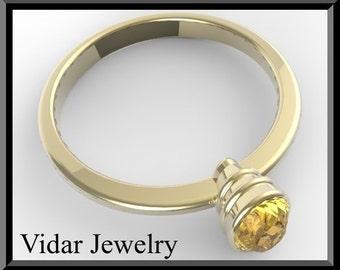 Engamenet Ring,Citrine engagement ring,Yellow engagement Ring,Solitaire Engagement Ring,Unique Engagement Ring, Yellow gold,Oval Ring,Bezel