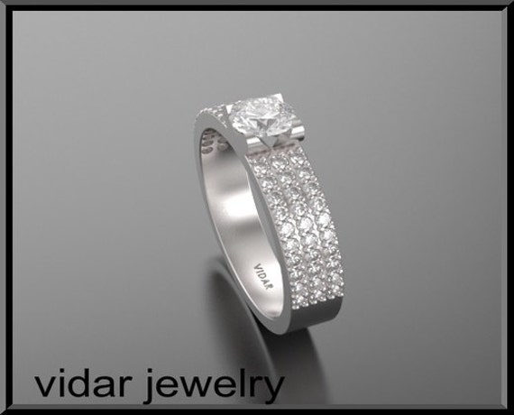 Unique Engagement Ring,Diamond Engagement Ring,Wide Band Diamond Ring,Custom Engagement Ring,Vidar Jewelry Rings