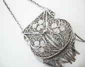 Vintage Miniature Filigree Sterling Silver Purse With Chain Handle Fob or Pendant