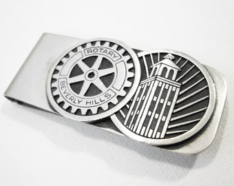 Modernist Harold Clifton Fithian  Beverly Hills Rotary Club Sterling Silver Money Clip Circa 1960 Stamped FI