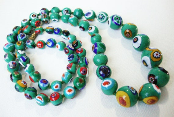 Reserved Vintage Venetian Glass Millefiori Necklace In Kelly Green with Multi Bright Colors 29 Long