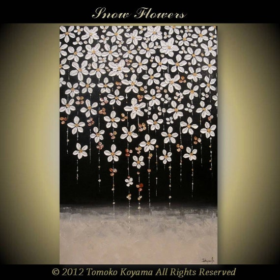 Original Impasto Moodern Abstract  Painting on  Gallery wrapped Canvas 24 x 36 Home Decor, Wall Art --- Snow Flowers---- by Tomoko Koyama