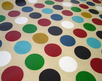 Half A Yard Oilcloth Fabric In Jewel Dots (purple Turquoise Blue Green)  Dots 54