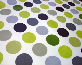"""0.5 yard Oilcloth - Laminated waterproof Cotton dotty tablecloth in kiwi green dots with grey 52"""" wide by dottyspots fabric"""