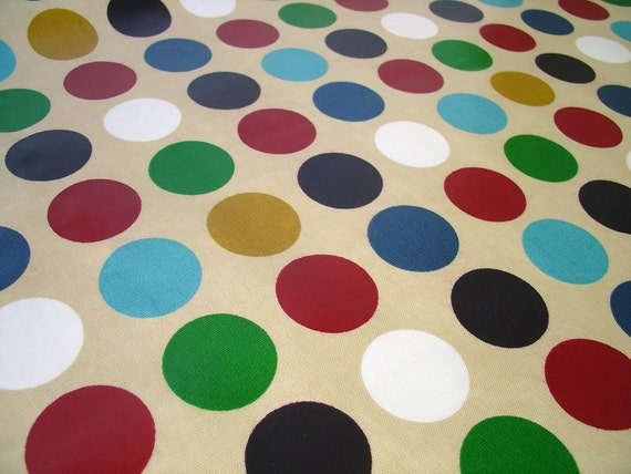 """half a yard oilcloth fabric in jewel dots (purple turquoise blue green) dots 54"""" wide TABLECLOTH"""