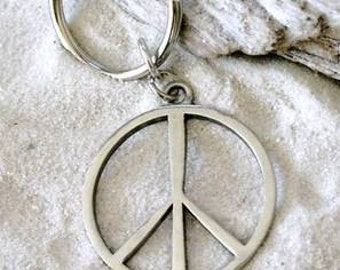 Pewter Peace Sign Yoga Love Hippie Namaste Meditation Keychain Key Ring (321-KC)