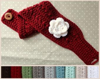 Women's Head warmer/Ear warmer with Flower, Color Choice, Headband
