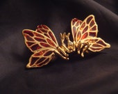 Vintage Red Stain Glass Kissing Butterflies Brooch