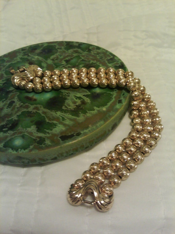 Retro Trifari Gold Tone Three Strand Beaded Chain Bracelet