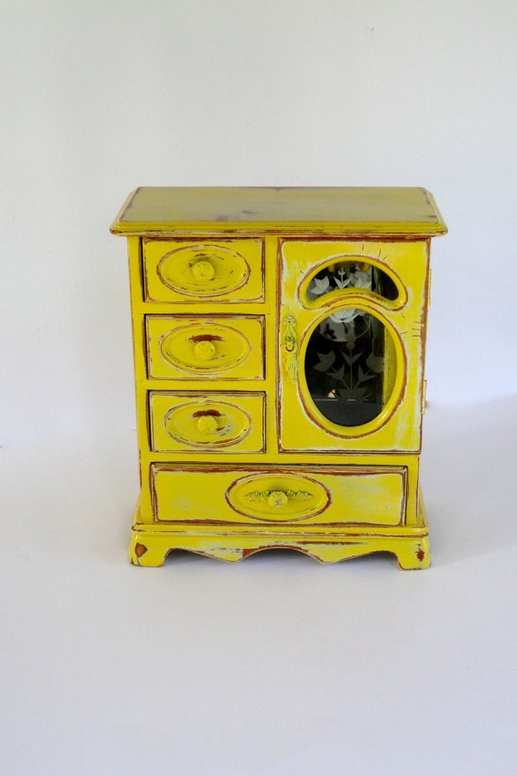 Mellow Yellow Jewelry Box, Solid Oak, Hand Painted and De-stressed
